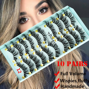 SKONHED-10-Pairs-3D-Soft-Faux-Mink-Hair-False-Eyelashes-Natural-Wispies-Fluffy