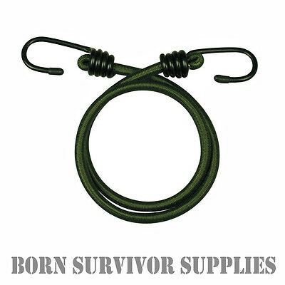 "10 x ELASTICATED BUNGEE CORDS 8mm 12"" 18"" 30"" Military Army Basha Straps Bungees"