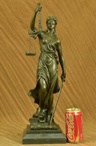 100% Bronze Metal Statue with Marble Lady Blind Justice Scales Lawyer Sculpture