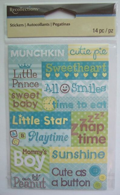 Recollections BABY BOY PHRASES word stickers; blue green yellow, newborn son
