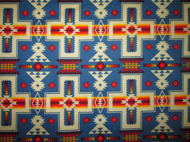 Navajo Cross Blue Orange Native American Print Cotton Fabric Fq