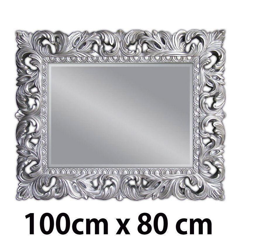 Miroir Mural Argent Antique Ornement 100x80 Debout Sol Salle De Bain