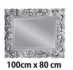 Specchio 100 X 80.Dettagli Su Specchio Muro Antico Argento Ornamento 100x80 Con Supporto Corridoio Bagno
