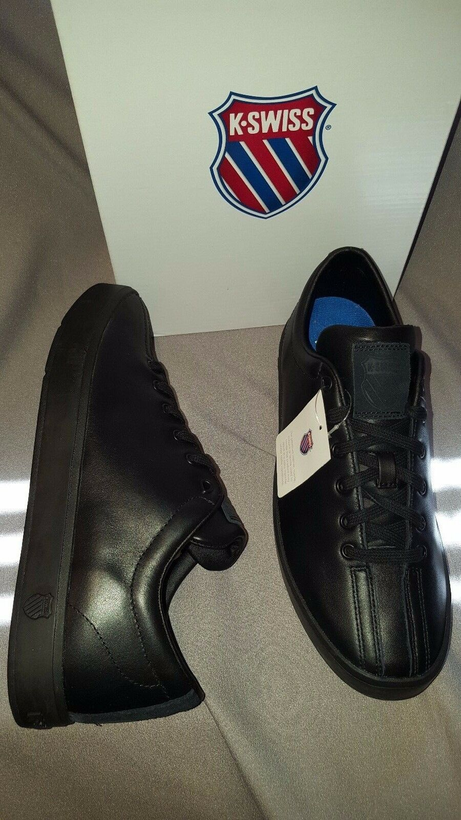 K-SWISS CLEAN CLASSIC LOW BLACK BLACK 02874001 MENS SHOES SIZE 8 NEW IN BOX