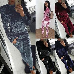 Clothing, Shoes & Accessories Womens Ladies Crushed Velvet Velour 2pc Jogging Top Loungewear Tracksuit Set Men's Clothing