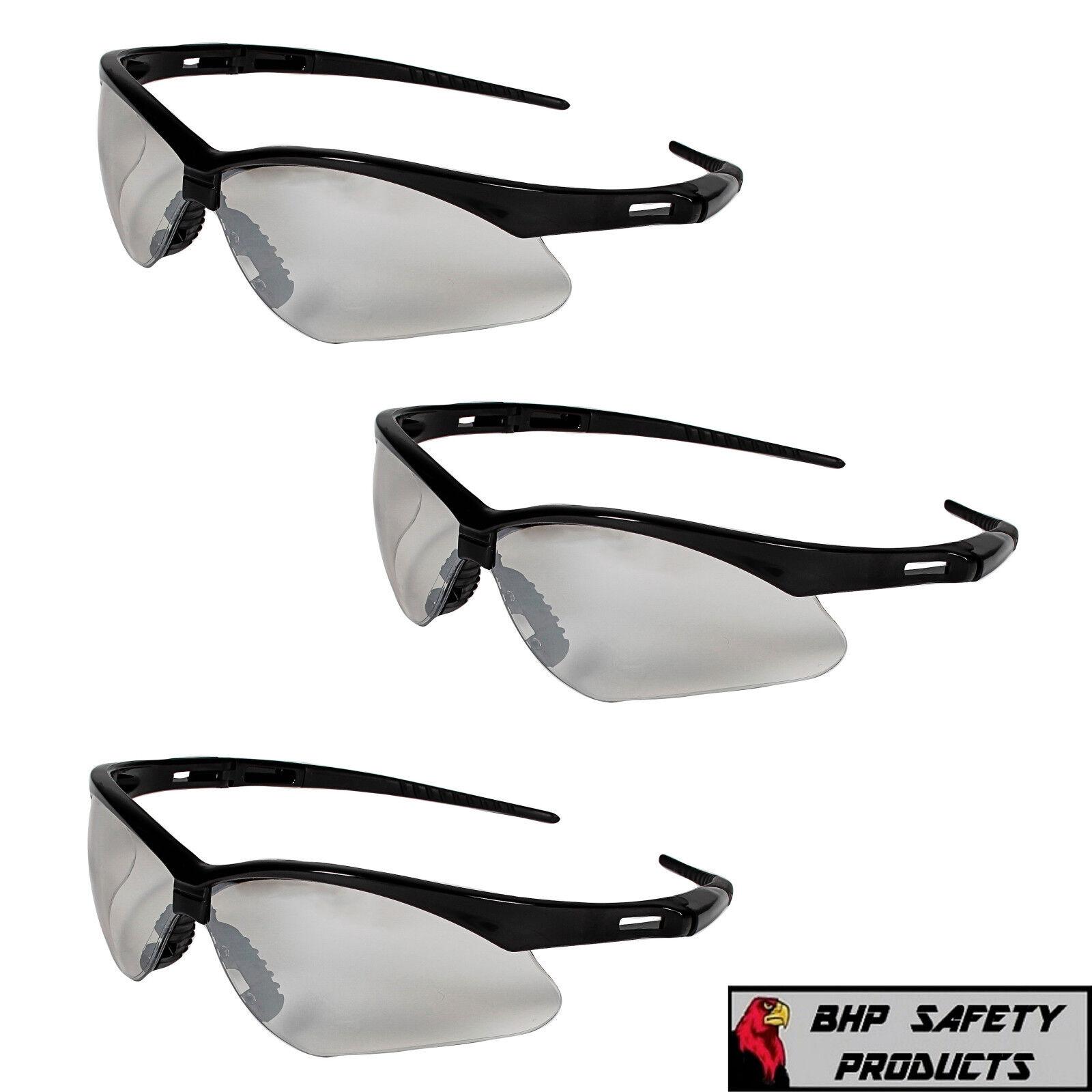 (3 PAIR) JACKSON NEMESIS SAFETY GLASSES INDOOR/OUTDOOR MIRROR BLACK FRAME 25685