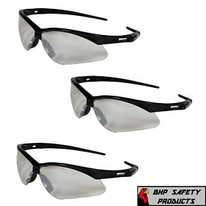 3 PAIR KLEENGUARD NEMESIS SAFETY GLASSES INDOOR/OUTDOOR MIRROR BLACK FRAME 25685