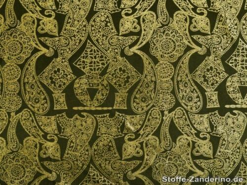 Paisley schwarz-gold Foliendruck ca.110cm, Karneval