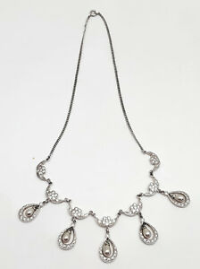 Vintage-Sterling-Silver-Rhinestone-And-Faux-Pearl-Drop-Necklace