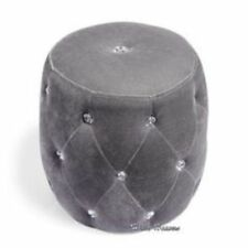 Grey Silver Diamante Puffy Pouffe Foot Stool Sotrage bedroom living room Seat