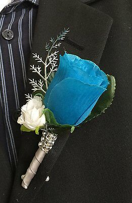 Boutonniere - Deep Blue Turquoise Rosebud and Mini White Rose Silver Accents