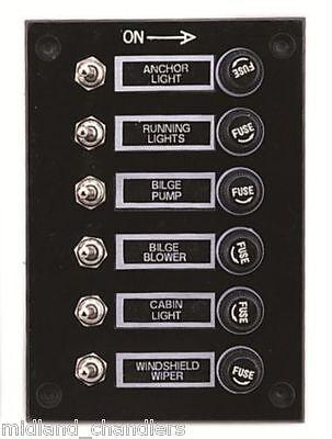 marine 6 gang fuse switch panel 12 volt marine caravan. Black Bedroom Furniture Sets. Home Design Ideas