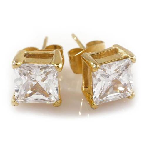 Details about  /18k IP Yellow Gold Plated Out Iced Square Clear CZ Stainless Steel Stud Earrings