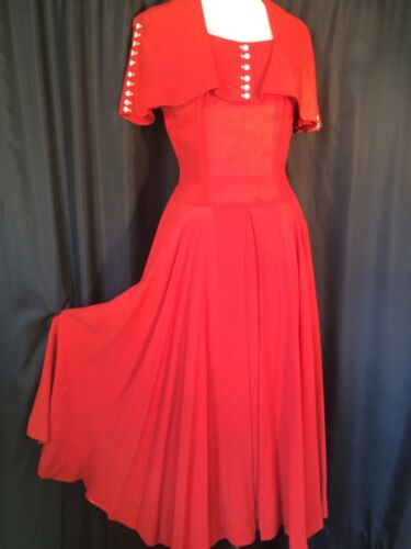 vintage Sailor collar Dress midi 30's Red rayon Cr