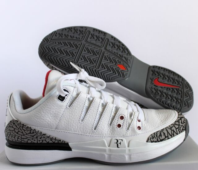 newest collection e2731 8402e Nike Zoom Vapor Aj3 Air Jordan 3 Roger Federer White Cement OG 709998 160  Sz 8.5