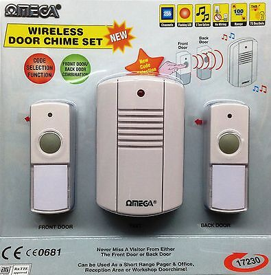 WIRELESS CORDLESS PORTABLE DOOR BELL 8 SELECTABLE CHIMES 120M RANGE TWIN PACK