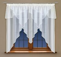 Curtain With Trimming And Made Of White Voile With Curtain Tape 59 X 118