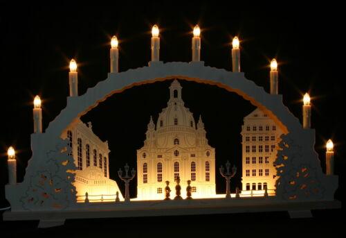 Schwibbogen Frauenkirche Dresden 70cm mit LED Vorbeleuchtung Erzgebirge