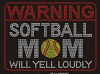 Softball Mom Rhinestone Iron On Transfer Diy Applique Sports Will Yell 14