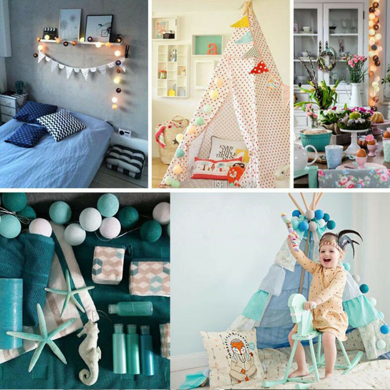 20 Cotton Ball String Fairy Night Lights USB LED Bulb Bedroom Party Home Decor @