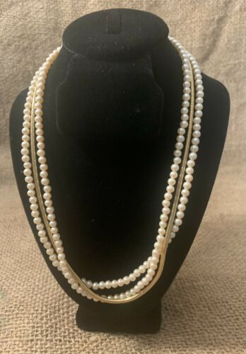 Classic~Vintage~Richelieu~Synthetic Pearl~Gold To… - image 1