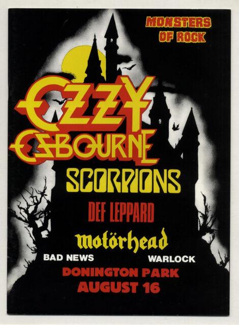 OZZY OZBOURNE Motorhead DEF LEPPARD Scorpions Monsters of Rock programme 1986