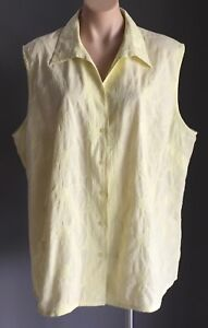TARGET-Ladies-Pale-Yellow-Floral-Broderie-Anglais-Sleeveless-Shirt-Plus-Size-26