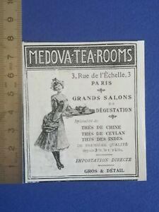 PUB-ANCIENNE-ADVERT-CLIPPING-1904-Medova-tea-rooms-the-chine-ceylan-indes