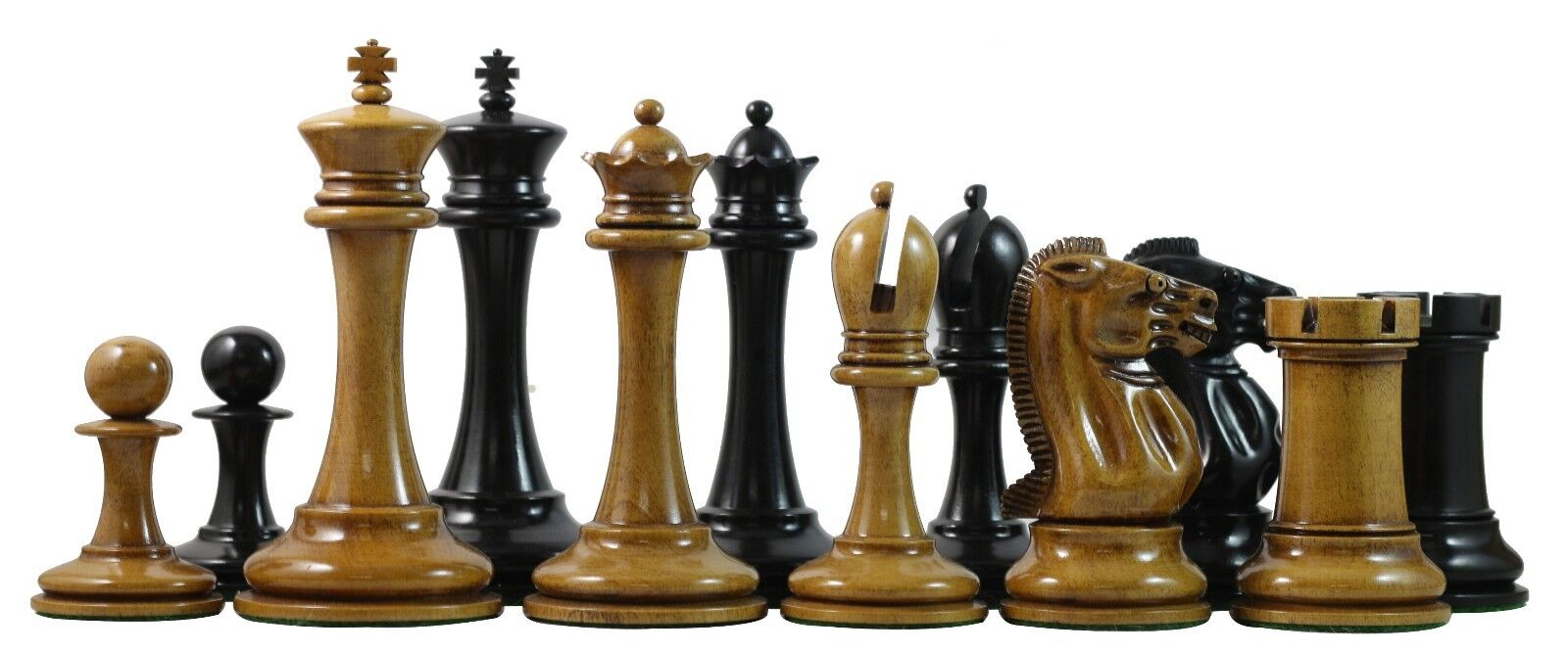 B & Company Reproduction Distressed Antiqued Staunton 4.4  Ebony Chessmen
