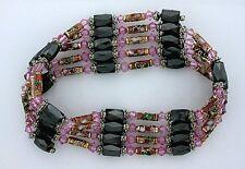 36 Inch Pink Crystal Cloisonne Hematite Magnetic Wrap Bracelet Necklace m36ibn12