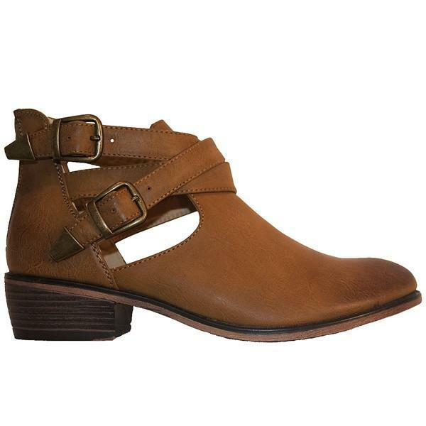 Restricted Not Now - Natural Dual Buckle Flat Bootie