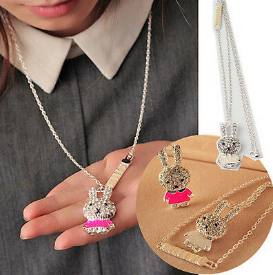 Rhinestone Crystal Enamel lovely Rabbit Alloy Charm Pendant Long Chain Necklace