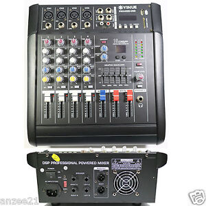Pro 4 channel stage karaoke live mixing console 800w power amplifier mixer ebay - Professional mixing console ...