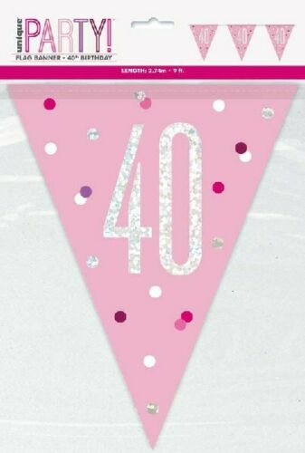 40th Birthday Flag Buntings Banners Balloon Light Pink Party Decoration Age 40