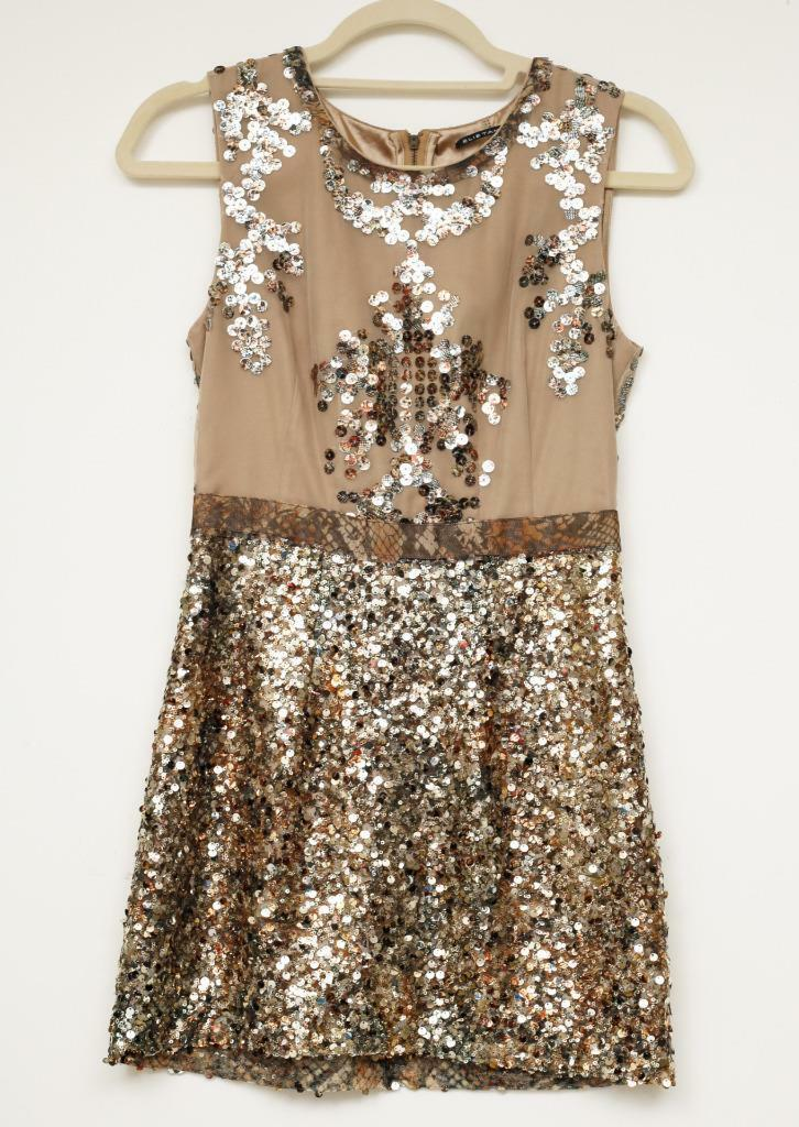 ELIE TAHARI damen Beige+Gold Sequin Sleeveless Cocktail Dress  US 2 NEW