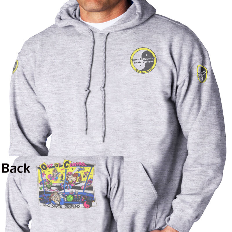 T&C,Town and Country,Hawaii Retro Skateboard  HOODIE/PULLOVER, T-1016AshHOOD,W@W