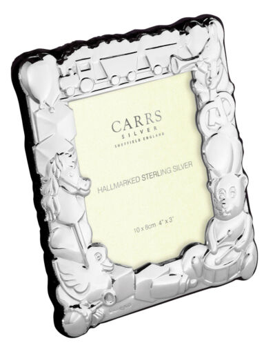 BNIB SOLID SILVER BABY CHRISTENING BIRTH PHOTO FRAME CHILDS By Carrs