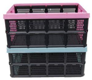 32-Litres-Pliable-Cageot-Pliable-PLASTIQUE-Dur-Boites-Empilable-Pliable