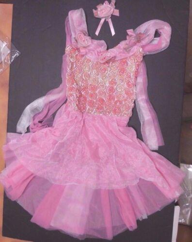 NWT Cascade LENGTH GIRLS BALLET COSTUME Rosette Trim frosted skirt Gold gilded