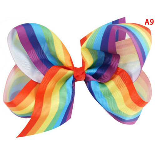 """5/""""Rainbow hair bows with clips kids girls boutique plaid printed ribbon bow CPUK"""