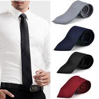 Classic Solid Plain Men's Silk Tie Jacquard Woven Wedding Party Necktie Hot