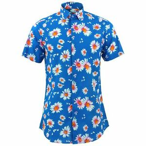 Camicia da uomo forte Originals Tailored Fit a Fiori Blu Retro Psichedelico Costume