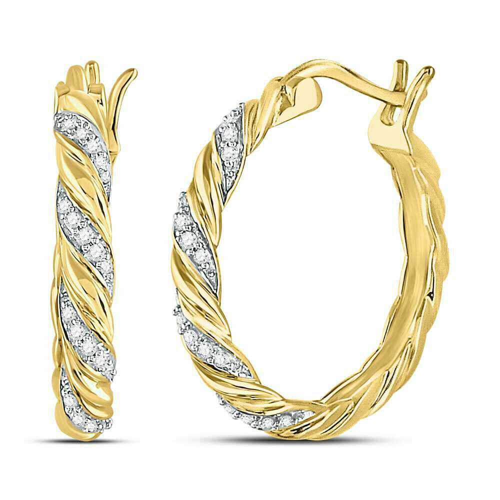 10kt Yellow gold Womens Round Diamond Spiral Stripe Hoop Earrings 1 10 Cttw