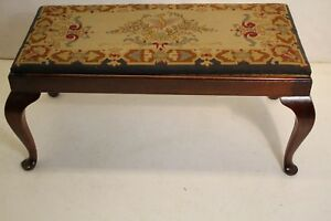 Antique Queen Anne Mahogany Piano Window Bench, Original Needlepoint, 19th C.