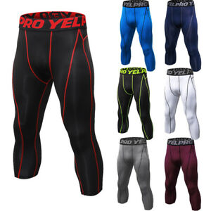 Men-039-s-Compression-3-4-Tights-Workout-Running-Gym-Pants-Dri-fit-Quick-dry-Spandex