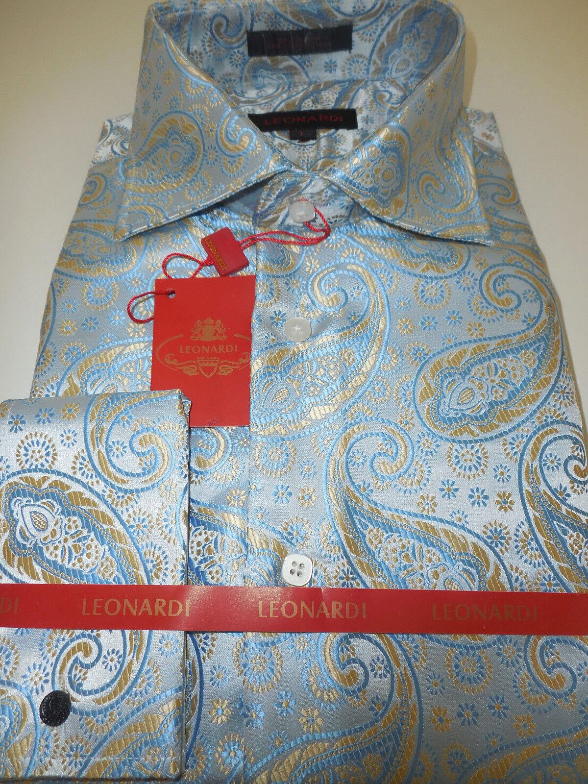 herren Leonardi 397 Light Blau Paisley High halsband Cuffed hemd Größe  L XL