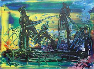 """ Composition Abstraite X3 "" Acrylique / Lwd.. Sign. / Dat. Franz J. Blank 06"