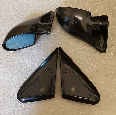 Black Manual dtm style Mirrors /& Base Plates to fit Seat Leon mk1 1998-2005