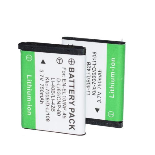 2 LI-42B LI42B Li-40B Batería Para OLYMPUS u700 u760 u820 FE250 FE340 X915 LI-40C
