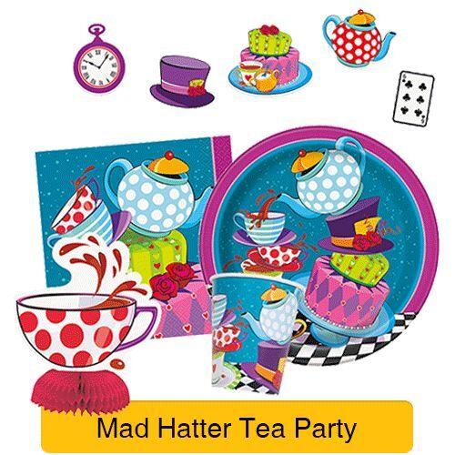 1 C Cumpleaños//Alicia en el país de las Maravillas SOMBRERERO LOCO TEA PARTY Vajilla /& Decoraciones